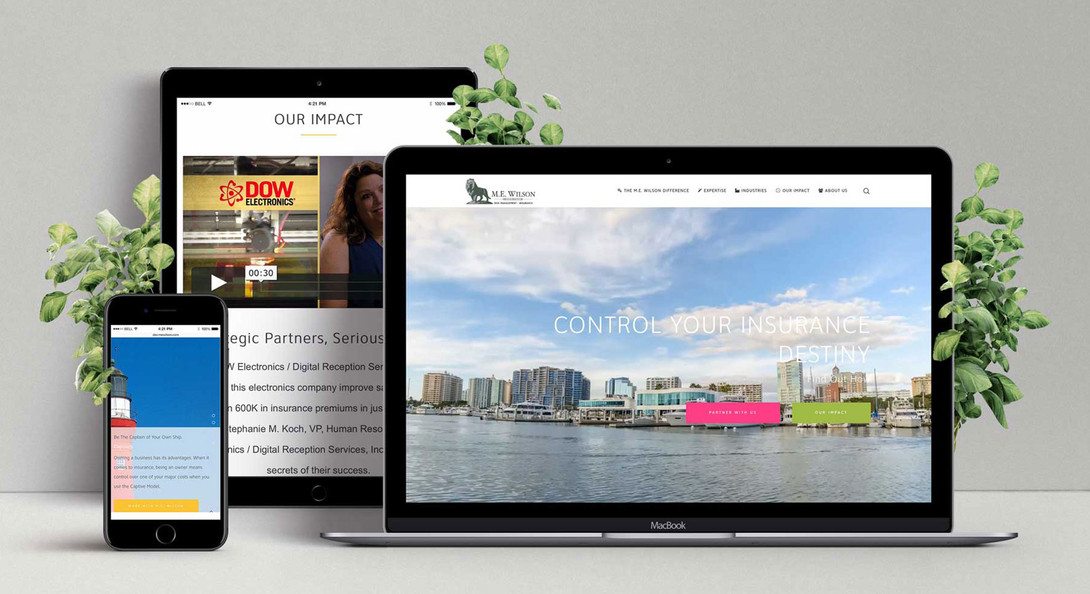 Responsive website design shown on laptop, tablet and smartphone