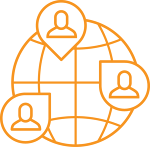 elearning icon: Orange globe with users in map markers