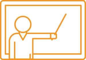 Instructor-led learning icon: facilitator pointing at whiteboard
